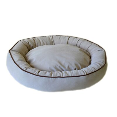 Oval Lounge Bagel Donut Dog Bed Size: Large (36 L x 27 W), Color: Linen