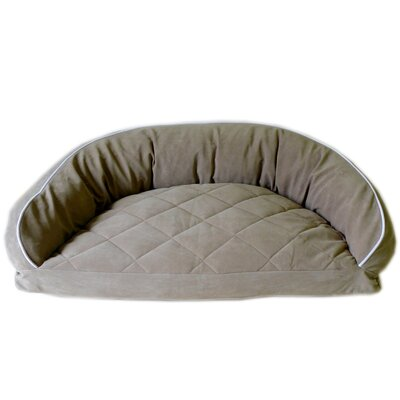 "Diamond Quilted Semi Circle Lounge Bolster Dog Bed Size: Small (32"" L x 24"" W), Color: Linen / Sage"