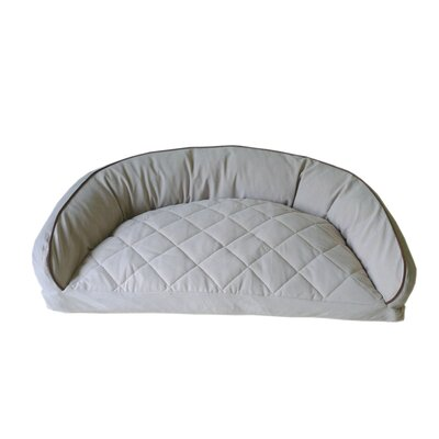 "Diamond Quilted Semi Circle Lounge Bolster Dog Bed Size: Small (32"" L x 24"" W), Color: Chocolate / Linen"