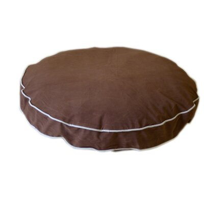 "Round Dog Pillow Size: Small (27"" L x 27"" W), Color: Linen / Chocolate"