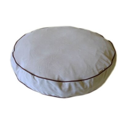 "Round Dog Pillow Color: Chocolate / Linen, Size: Large (42"" L x 42"" W)"