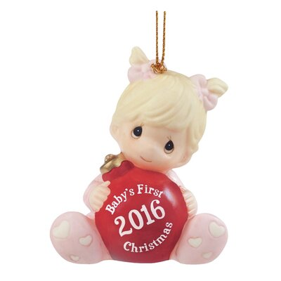 """Baby's First Christmas 2016"""" Bisque Porcelain Ornament"""