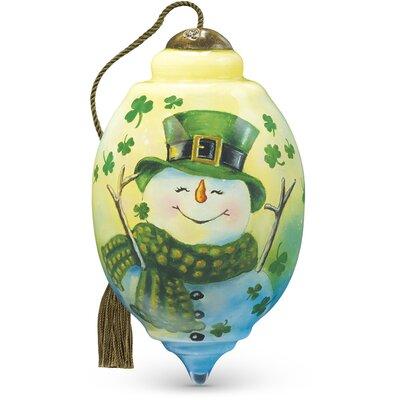 "Irish Snowman"" Petite Trillion Shaped Glass Ornament by Dona Gelsinger"