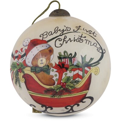 """Baby's First Christmas"""" Petite Round Shaped Glass Ornament by Susan Winget"""