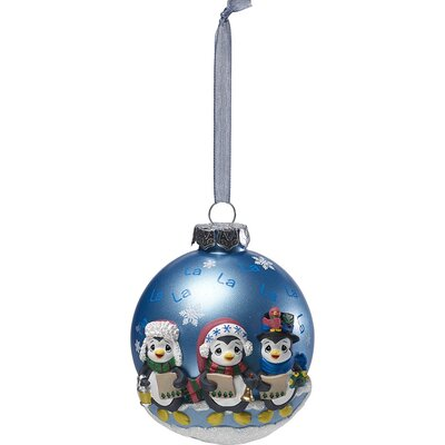 Caroling Penguins Glass/Resin Ball Ornament 171412