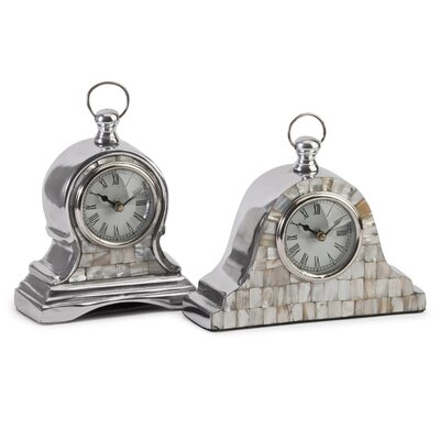 2 Piece Mother of Pearl Table Clock Set
