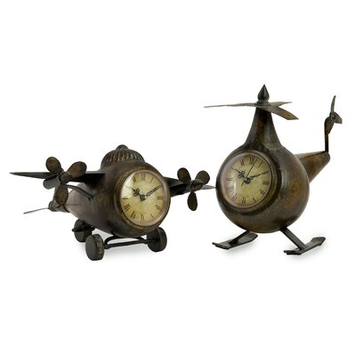 2 Piece Lindbergh Aviation Clock Set 12708-2