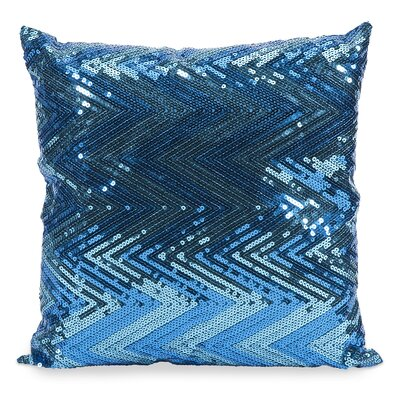 Chevron Estradin Sequin Throw Pillow Color: Blue