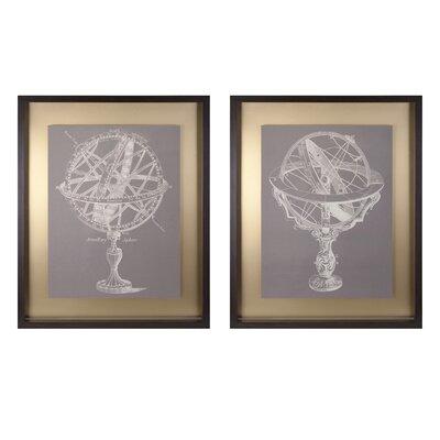 Beth Kushnick Armillary 2 Piece Framed Painting Print Set