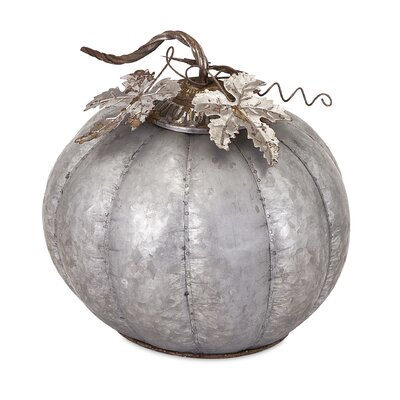 Kellan Decorative Galvanized Pumpkin Sculpture Size: 12.5 H x 12 W x 12 D