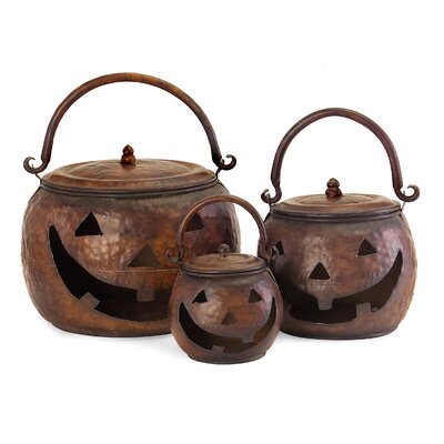 3 Piece Decorative Lidded Pumpkin Set 4628-3