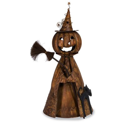Halloween Wicked Witch Jack O'Lantern with Black Cat and Broom in Orange