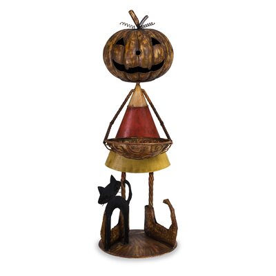 Halloween Jack O'Lantern Man Figurine with Candy Bowl and Spooky Black Cat