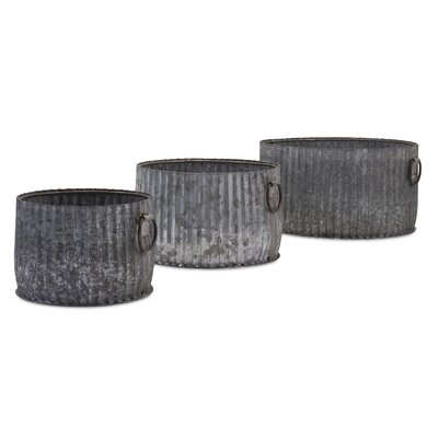 Maurer Galvanized 3-Piece Metal Pot Planter Set