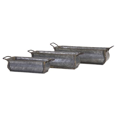 Deann Galvanized 3-Piece Brass Planter Box Set