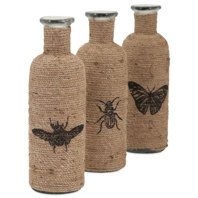 3 Piece Decorative Accent Jute Bottles Set
