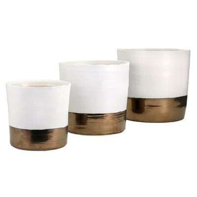 Harlow Round 3-Piece Ceramic Pot Planter Set