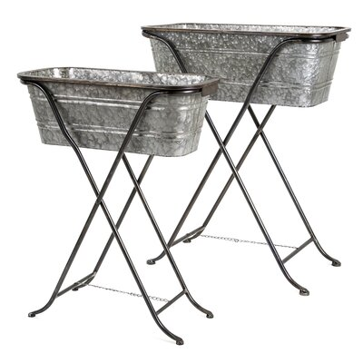 Blaklin Galvanized 2 Piece Pot Planter Set with Stand