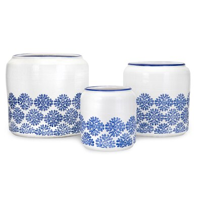 Edith Round 3-Piece Stoneware Pot Planter Set