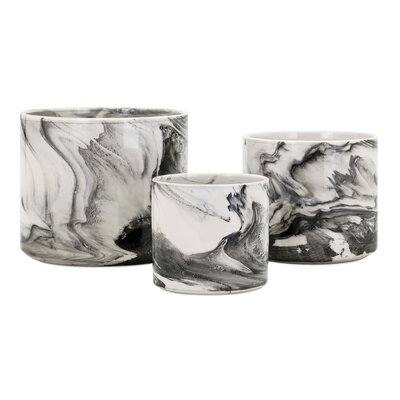 Kai 3-Piece Marble Pot Planter Set