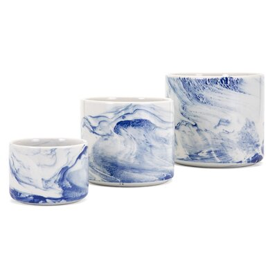 Willow 3-Piece Marble Pot Planter Set