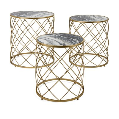 Zara Faux Marble 3 Piece Nesting Tables