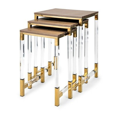 Elle Acrylic Leg 3 Piece Nesting Tables