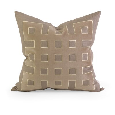 IK Kavita Applique Linen Throw Pillow Color: Taupe