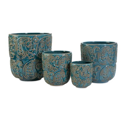 Bradley 4 Piece Round Pot Planter Set 64329-4