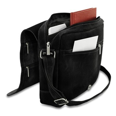 David King Double Zip on the Flap Distressed Messenger Bag - Color: Black