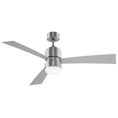 54 Zonix 3 Blade LED Ceiling Fan with Remote Finish: Brush Nickel with Satin Nickel Blades