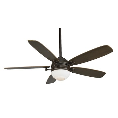 52 Akira 5-Blade Ceiling Fan with Remote Finish: Oil Rubbed Bronze with Walnut / Mahogony  Blades