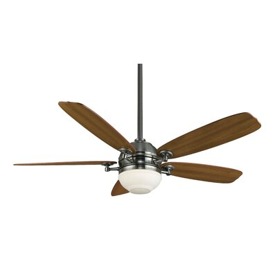 52 Akira 5-Blade Ceiling Fan with Remote Finish: Pewter with Cherry / Walnut Blades