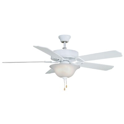 52 Builder Series 5-Blade Ceiling Fan Finish: Matte White, Glass Type: White Frosted Glass