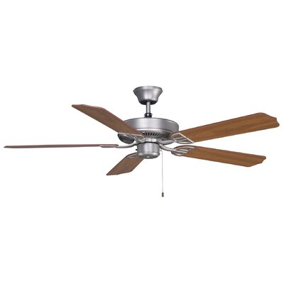 52 Builder Series 5-Blade Standard Ceiling Fan Finish: Satin Nickel