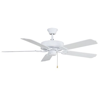 52 Builder 5-Blade Indoor/Outdoor Ceiling Fan Finish: Matte White with White Glass Blades