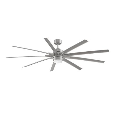 84 Odyn 9 Blade Ceiling Fan with Remote Finish: Brushed Nickel / Brushed Nickel Blade