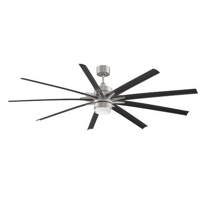 84 Odyn 9 Blade LED Ceiling Fan with Remote Finish: Brushed Nickel / Black Blade