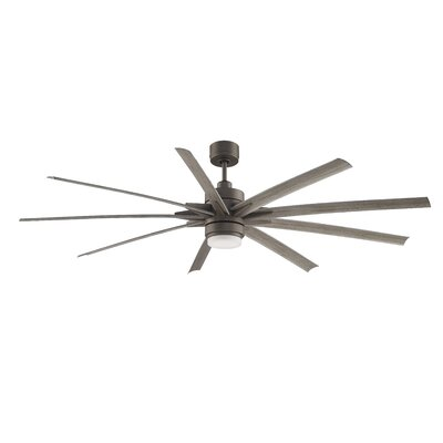 84 Odyn 9 Blade LED Ceiling Fan with Remote Finish: Matte Greige / Weathered Wood Blade