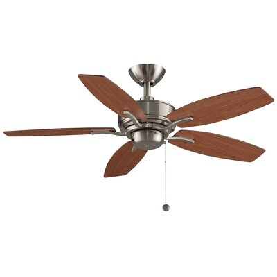 44 Aire Deluxe 5-Blade Ceiling Fan with Remote Finish: Brushed Nickel