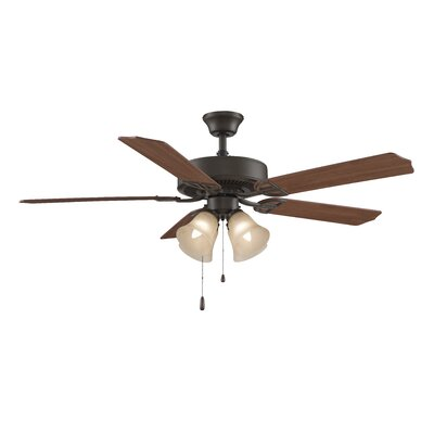 52 Builder Series 5-Blade Ceiling Fan Finish: Oil Rubbed Bronze with Cherry / Mahogany Blades, Glass Type: Amber Glass