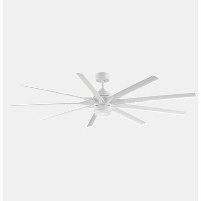 84 Odyn 9 Blade LED Ceiling Fan with Remote Finish: Matte White