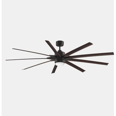 84 Odyn 9 Blade LED Ceiling Fan with Remote Finish: Dark Bronze / Dark Walnut Blade