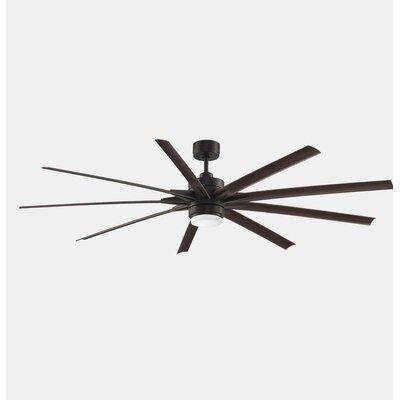 84 Odyn 9 Blade Ceiling Fan with Remote Finish: Dark Bronze / Dark Walnut Blade