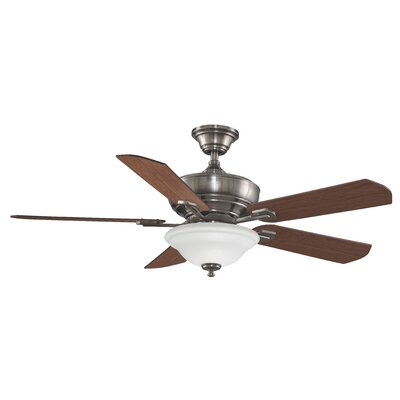 52 Camhaven 5-Blade Ceiling Fan Fan Finish with Blade Finish: Pewter With Cherry/Walnut Blades