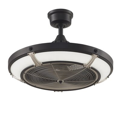 12 Pickett 3 Blade Outdoor Ceiling Fan with Remote Finish: Black/Brushed Nickel