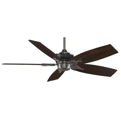 68 Louvre 5-Blade Ceiling Fan with Remote (Blades Not Included) Finish: Pewter