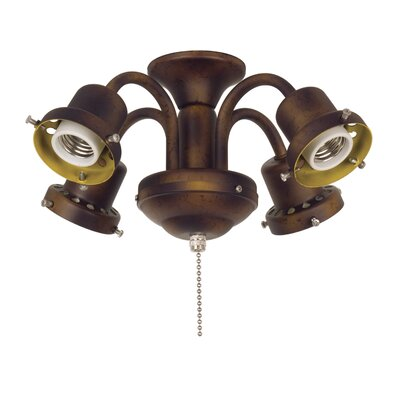 4-Light Traditional Ceiling Fan Light Fitter For Damp Locations Finish: Tortoise Shell
