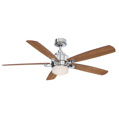 52 Benito 5 Blade Ceiling Fan with Remote Finish: Polished Nickel