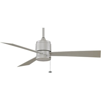 52 Zonix 3-Blade Ceiling Fan Fan Finish with Blade Finish: Satin Nickel With Satin Nickel Blades